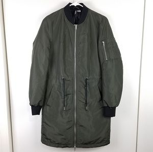 H&M divided long zip-up puffer coat olive green 6